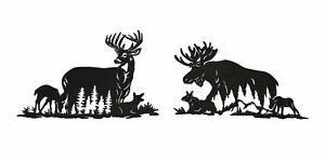 Set of Moose And Deer Family Black Metal Laser Cut Wall Art Home Lodge Decor
