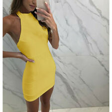 Sexy Women's Backless Solid Summer Halter Sleeveless Casual Party Mini Dress UK