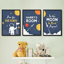 Personalised Wall Art Space Theme For Boys Bedroom Childrens Room Decor Pictures