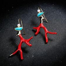 Boucles d'Oreilles Doré Chandelier Branche Corail Email Rouge Art Deco Bleu XX27