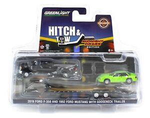 1:64 GreenLight MIDNIGHT DRAGS Black Ford F350 Dually Gooseneck & 1992 Mustang