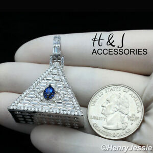 MEN 925 STERLING SILVER ICY DIAMOND BLUE EYE OF HORUS 3D PYRAMID PENDANT*ASP312