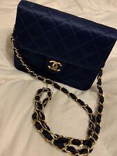 Vintage Chanel Quilted BLUE Satin Bag 86-88'