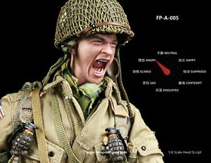 1/6 Roar Angry Soldier Male Head Sculpt Facial Expression Head Fit 12'' Figure