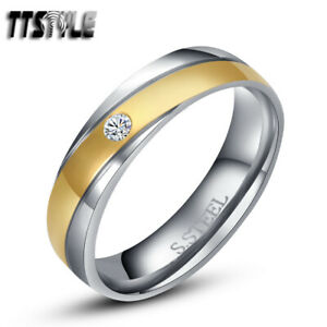 TTstyle Gold Stripe Stainless Steel Engagement Wedding Band Ring With CZ