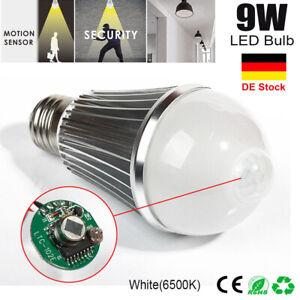 E27 9W LED Glühbirne Lampe mit Bewegungssensor Bewegungsmelder PIR Sensor Birne