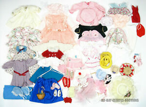 VINTAGE LOT OF 80+ DOLL CLOTHING DRESSES,TOPS,BOTTOMS,HATS,HANGARS,SHOES & MORE!
