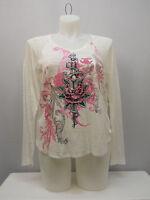 SELF ESTEEM Women's Knit Top V-Neck Long-Sleeve Ivory PLUS SIZE 1X