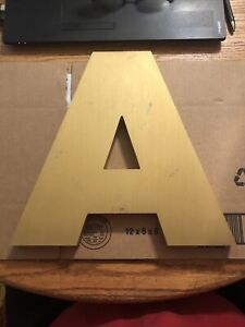 Vintage gold letter A metal sign alphabet industrial look 12 inches Storefront !