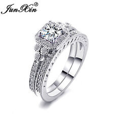 JUNXIN Princess Cut White Sapphire Wedding Band Rings Set White Gold Size 5-10