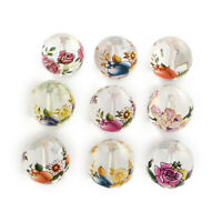 20pcs Mixed Flower Transparent Round Bead 14x13mm Jewelry Specialty Glass Loose