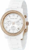 Michael Kors Women's White Ceramic Bracelet Quartz Chronograph Womens MK5269
