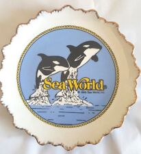 """Vintage Sea World Inc. Decorative Collector Plate Jumping Orca Whales 1986 8"""""""