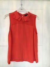 Topshop Orange Peter Pan Frill Collar Summer Work Smart Blouse Size 6 BNWOT