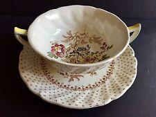ANTIQUE ROYAL DOULTON CREAM SOUP BOWL SET FOR 4 CUPS & SAUCERS - GRANTHAM