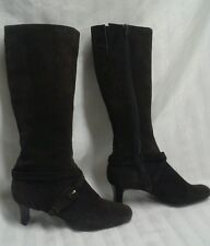 Circa Joan and David Brown Suede Zipper Knee High Heeled Boots