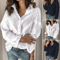 ZANZEA Women Buttons Down Lace Crochet Shirt Tops Lapel Loose Blouse Lapel Tops