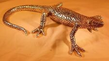 "Handcrafted Polyresin Carbrite GECKO Figurine, Silver-Color, 10.25"" Long"
