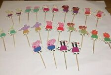 24 x pack PINK PIG Cupcake Pick Decoration Topper Birthday Party , George