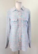 Equipment Femme Light Purple Blue Snakeskin Print Silk Button Up Blouse Shirt M