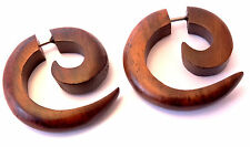 Faux Ecarteur Bois Boucle d'oreille Piercing Wooden Gauge Earring Fake spirale