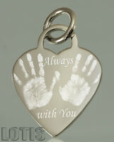 925 Sterling Silver - Hand, Foot prints, Personalised Engraved Heart Pendant