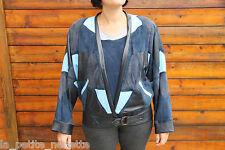 blouson patchwork cuir et peau bleu ROSE SARKISSIAN taille 40-42 EXCELLENT ÉTAT