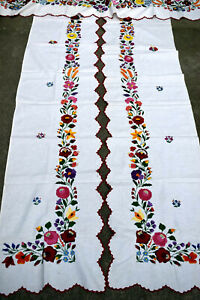 Antique Hungarian KALOCSA  Embroidery Curtain set 3pieses