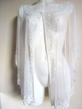 NEW WHITE SEQUIN  PONCHO CROP SHRUG CAPE WEDDING COVER UP NIGHT PARTY  BOLERO