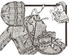 Vintage Knitting PATTERN to make Baby Bonnet Hat Sweater Booties Set KnitScallop