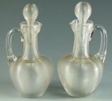 Antique Glass - Stourbridge Made Clear Trailed Glass - Oil / Vingar Pourers
