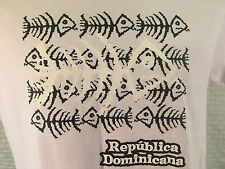 REPUBLICA DOMINICANA T-Shirt SMALL (Off-White) NEW Fish Bones Dominican Republic
