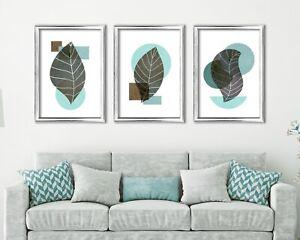 Botanical Leaf Print Set Of 3, Turquoise, Brown & Grey Botanical Leaf Print Set