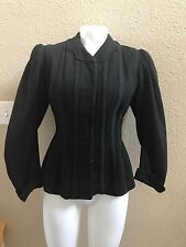Antique Victorian Jacket Bodice Fitted Black Top Late 1800's Turn Of Century