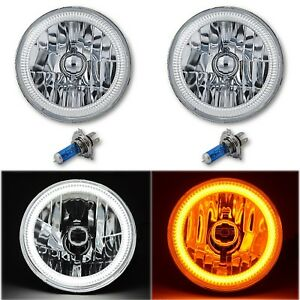 "7"" Crystal Switchback White LED Halo Angel Eye Amber Turn Signal Headlights Pair"