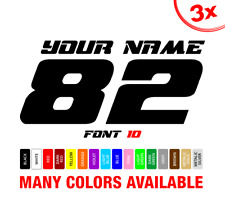 3x MX Number Plate Name Decals Motocross Dirtbike Autocollant Aufkleber Adesivi