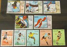 Laos 1988, 1990 + 1994 Olymp. Spiele Calgary + Fußball-WM Italien + USA Gummiert