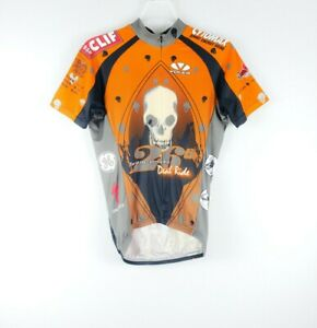 VOLER Unisex Cycling Jersey Orange Hidden Zipper Skull Death Ride USA Made Sz S