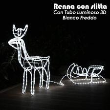 Renna Luminosa con Slitta  Esterno Tubo Giardino Natale Luce Decorazione Bianco