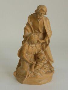 Toni Baur Oberammergau Krippenfigur Blockkrippe Heilige Familie 16,5 cm