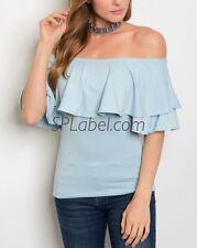 New Women Light Blue Off Shoulder Top Size L