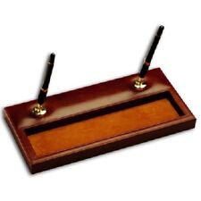Brand New! Great Gift! Dacasso Cognac Italian Leather Double Pen Stand (Gold)