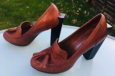 UNITED NUDE Heels - Block High Pumps - Dark Tan Leather - Tassels - Eu 39 / UK 6