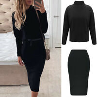 Women 2PCS Skirt Suits Long Sleeve Knitted Tops Ladies Slim Fit Midi Skirt Party
