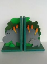 Hippo wooden bookends