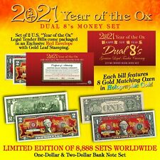 2020 Chinese New YEAR OF THE OX Lucky Money U.S. $1 & $2 Set DUAL 8's GOLD OXEN