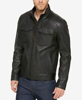 Cole Haan Men Trucker Motorcycle Jacket black Size XL Mock-Neck Leather $450 133