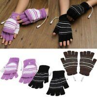 2PCS USB Electric Heating Glove Winter Thermal Hand Warmer Fingerless Mitten