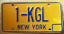 New York 1980's VANITY License Plate 1-KGL