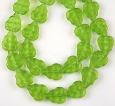 25 PCS Czech Leaf Matte Olivine Green Pressed Loose Glass Beads Craft 8x10mm